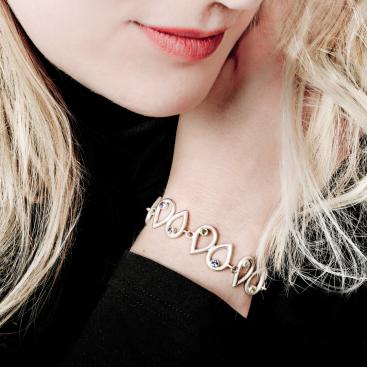 Silber Armband 925 mit verschiedene Edelsteine Goldschmiede Chalos